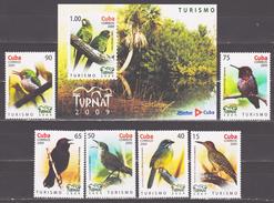 Cuba 2009 Kuba Mi 5298-5303 + Block 265(5304) Congress On Ecotourism Turnat: Native Birds / Einheimische Vögel **/MNH - Passereaux