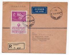 1948 YUGOSLAVIA, SLOVENIA, LJUBLJANA TO BRADFORD, UNITED KINGDOM, POSTER STAMP, REGISTERED AIR MAIL - 1945-1992 Socialist Federal Republic Of Yugoslavia