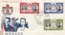MONACO - FDC 19.4.1956 - MARIAGE PRINCIER - Yv N°474-475-476 /2 - FDC