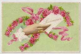 """53 - Fers à Cheval Garnis De Roses """" En Relief"""" -souvenir - Main - Fleurs"""