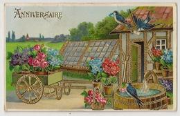36 - Anniversaire - Hirondelles * Paysage - Dorure - Oiseaux