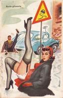 CPSM Grivoise Pin-up Sexy Bas Porte-Jarretelles Verglas Chaussée Glissante Illustrateur  L. CARRIERE N° 374(2 Scans) - Carrière, Louis