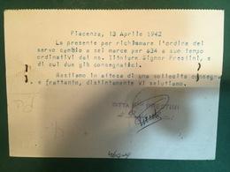 Cartolina Ditta F. Lli PRestini Piacenza  - Via S. Marco Esclusiva Fordson- 1942 - Cartoline
