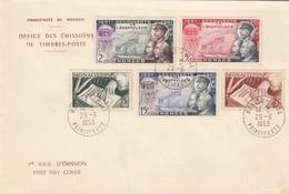 MONACO - FDC 29.6-1953 - GONCOURT - ANAPHYLAXIE - Yv N°392/393-394/396    /2 - FDC