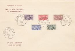 MONACO - FDC 14.1.1955 - SCEAU DU PRINCE - Yv N°415/419    /2 - FDC