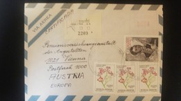 O) 1982 ARGENTINA, GENERAL JOSE DE SAN MARTIN SCT 1376 50000 - FLOWERS, AIRMAIL CERTIFICATE TO AUSTRIA, XF - Argentina