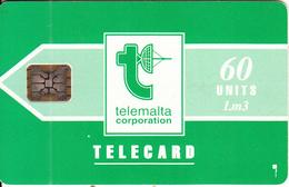 MALTA - Telecom Logo/green(60 Units), Chip SC5, CN : C31140998, Tirage %78050, 11/92, Used - Malta