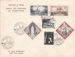MONACO - FDC 15.5.1958 - CENTENAIRE APPARITIONS DE LOURDES - Yv N°492-499-501-502 PA 69-70  /TBS - FDC