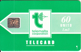 MALTA - Telecom Logo/green(60 Units), Chip SC4, CN : C29040618, Tirage %78050, 11/92, Used - Malta