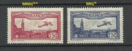 FRANCE 1930 Michel 251 & 255 MNH/MH Flugzeug Air Plane - Ungebraucht