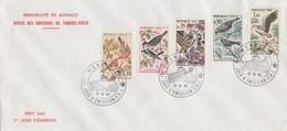 MONACO - FDC 12.12.1962 - 60e ANNIV. CONVENTION PROTECTION OISEAUX UTILES - Yv N°582-584-585-588-590 /TBS - FDC