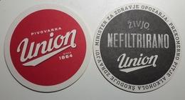 Beer Coaster UNION Brewery  Nefiltrirano Pivo Slovenia Beer Mats - Beer Mats