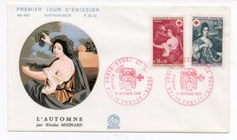 FDC France 1968 - Croix Rouge 1968 - 10 Troyes Le 14/12/1968  YT 1580 & 1581 - FDC