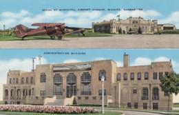 Wichita Kansas Municipal Airport Hangar And Administration Building, C1930s Vintage Postcard - Aerodromes