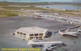 Anchorage Alaska International Airport, Jet Planes At Terminal Building, C1960s/70s Vintage Postcard - Aerodromes