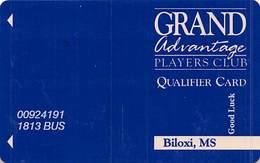 Grand Casino Biloxi MS - Qualifier Card / Slot Card   ....[RSC]..... - Casinokarten
