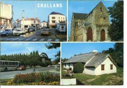 85300 CHALLANS - Place De Gaulle, Notre-Dame, Salle Michel Vrignaud, Bourrine - Citroën DS, Peugeot, Renault - Challans