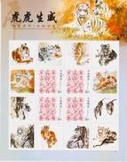 China 2010-1 New Year Of The Tiger Special Full S/S Zodiac Animal  D - Big Cats (cats Of Prey)