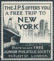 UK GB London JPS Junior Philatelic Society SHIP Steamship Liner Dampfer Paquebot Navire Tug Vignette Poster Reklamemarke - Ships