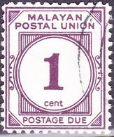 MALAYA POSTAL UNION 1964 1c Maroon SGD22 Fine Used - Malayan Postal Union