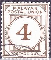 MALAYA POSTAL UNION 1964 4c Bistre-Brown SGD24 Fine Used - Malayan Postal Union