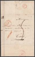 """L. Datée 11 Octobre 1844 De THOROUT Càd BRUGES /12 OCT 1844 Pour GAND - Griffe """"APRES LE DEPART"""" - Port """"5"""" (au Dos: Càd - 1830-1849 (Belgique Indépendante)"""