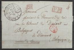 """L. Datée 14 Avril 1840 De VENOSE Càd """"LE BOURG-D'OYSSANS /19 ? 15 ? AVRIL 1840"""" Pour Procureur Du Roi à DINANT - Griffes - Postmark Collection (Covers)"""