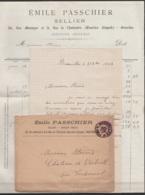 """L. Entête """"Sellerie Emile Passchier"""" Affr. N°46 Càd BRUXELLES 5 /31 OCTO 1884 Pour Château D'Oirbeek à TIRLEMONT (au Dos - 1884-1891 Léopold II"""