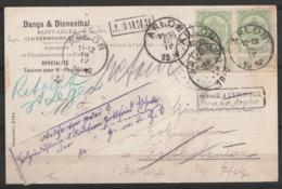 """CP """"Fonderie"""" Affr. N°83x2 Càd ARLON /18 IV 1912 Pour KAISERSLAUTERN (Allemagne) [Retour à L'envoyeur] - étiquette Poste - 1893-1907 Coat Of Arms"""