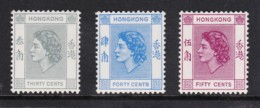 Hong Kong 1954 Queen Elizabeth 30c, 40c, 50c MH  SG 183-185 - Hong Kong (...-1997)