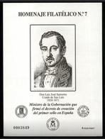 ESPAÑA SPAIN ESPAGNE SPANIEN EDIFIL HOMENAJE FILATÉLICO 7 LUIS JOSÉ SARTORIUS CONDE DE SAN LUIS 2011 MNH - 1931-Hoy: 2ª República - ... Juan Carlos I