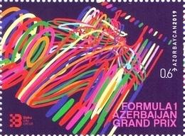 2019 Azerbaijan Grand Prix . Azerbaijan Stamps. Baku City Circuit 1 STAMP - Azerbeidzjan