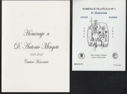 ESPAÑA SPAIN ESPAGNE SPANIEN EDIFIL HOMENAJE FILATÉLICO 8A ANTONIO MINGOTE IN MEMORIAM 2012 MNH - 1931-Hoy: 2ª República - ... Juan Carlos I