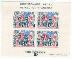 T.A.A.F. // 1989 // Blocs Et Feuillets No.1 Y&T Neuf** MNH, Bicentenaire De La Révolution Française - Blocs-feuillets