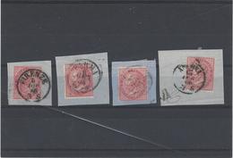Italia Regno ,usati ,4 Pezzi Uguali Su Frammento Con Annulli Sardo-italiani ,diversi Emiss.DLR ,ottima Qualita - 1861-78 Vittorio Emanuele II