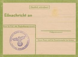 Eilnachricht /Lebenszeichen, Stempel NSDAP Heilbronn-Fleinerhöhe, Blanko - Germany