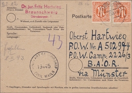 BiZone: Postkarte Aus Braunschweig Nach Münster-  Militär Zensur 1946 - American/British Zone
