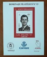 ESPAÑA SPAIN ESPAGNE SPANIEN EDIFIL HOMENAJE FILATÉLICO 13 L ANIVERSARIO S.M. FELIPE VI 2018 MNH - 1931-Hoy: 2ª República - ... Juan Carlos I