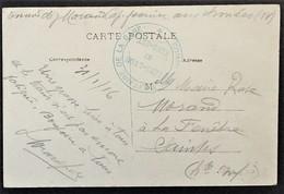 Cachet COMMISSION MILITAIRE DE LA GARE SENS - LYON ET SENS - EST Sur CP Franchise Militaire > Saintes Janv 1916 - Marcophilie (Lettres)