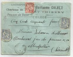 MOUCHON 25CX2+10C LETTRE CHARGE  150FR SAINT THIBERY HERAULT 1903 - Poststempel (Briefe)