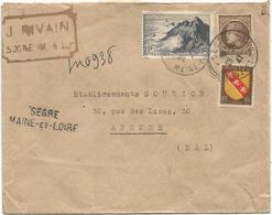 N°764+681+757 LETTRE REC PROVISOIRE SEGRE MAINE ET LOIRE 28.7.1947 - Marcophilie (Lettres)