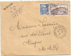 N°717+757  LETTRE REC PROVISOIRE C. PERLE ST SYLVAIN D'ANJOU 18.10.1946 MAINE ET LOIRE - Postmark Collection (Covers)