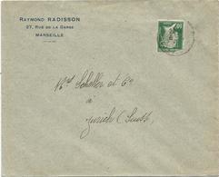 PASTEUR 10C DFEFCTUEUX PERFORE RR RAYMOND RADISSON MARSEILLE 192? LETTRE POUR SUISSE - Perfins