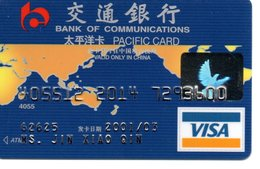 Carte Magnétique Visa International Communication  Bank Banque Paiement Karte Chine China Pacifique  Card (D 507) - Phonecards