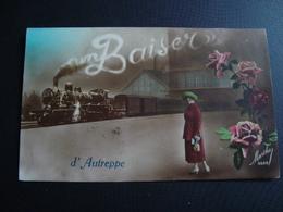 Un Baiser D' Autreppe ( Train) Cachet Ormeignies 1922) - Ath