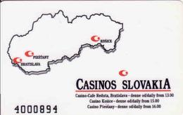 Slovaquie, Casinos Slovakia Magnetic Card, Bratislava, Košice, Piešťany - Casinokarten