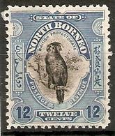 NORTH BORNEO 1925 12c SG 285 PERF 12½ LIGHTLY MOUNTED MINT Cat £30 - Nordborneo (...-1963)