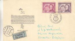 Msique - Chopin - Tchècoslovaquie - Lettre De 1949 - Oblit Praha - Exp Vers Bruxelles - Tschechoslowakei/CSSR