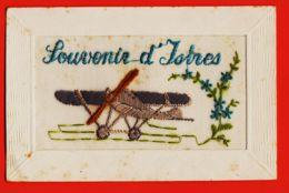 MER028 Rare Carte Brodée SOUVENIR D' ISTRES 1920s Cpavion Militaire 13 Bouches-du-Rhone - Istres