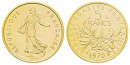 Monnaie 5 FRANCS, 1970  OR PL  Rare Edition Limitee - Or